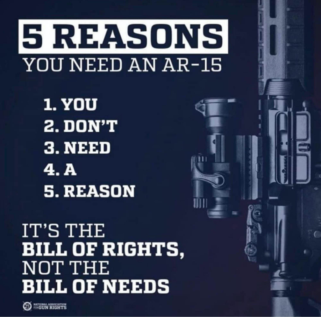 YOU NEED AN AR-IS  1. YOU  2. DON'T  3. NEED  S. REASON  IT'S THE  BILL OF RIGHTS,  NOT THE  BILL OF NEEDS  RIGHTS